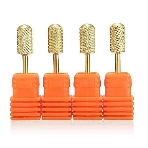 SunTrade 4 pcs Carbide Clean Nail Drill Bit Tool Rotary File Manicure Pedicure 3/32 Shank best manicure milling drill bit