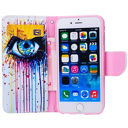 Etche iPhone 6 Plus/6S Plus 5.5 pouces Coque,Ultra Slim Mince Flip PU Cuir Housse Etui coque pour iPhone 6 Plus/6S Plus 5.5 pouces,Colorful pissenlit pétales de fleurs Arbre Feather Etui de Protection