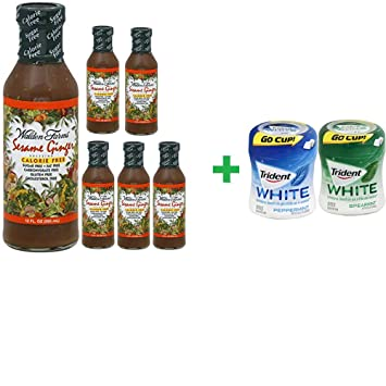 Walden Farms Sesame Ginger Dressing ,12 OZ (6 PACK) + Trident Go Cup