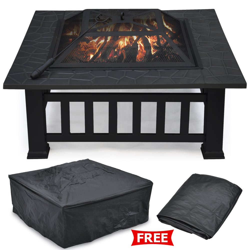 Radical Deal 32'' Fire Pit Outdoor Patio Garden Stove BBQ Fireplace Brazier Square Metal New with Cover by Radical Deal