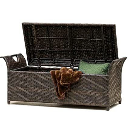Amazing Amazon Com Gt Deck Storage Bench Wicker Outside Outdoor Machost Co Dining Chair Design Ideas Machostcouk