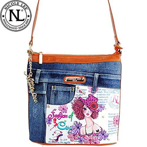 156268c6e910 Nicole Lee Wanda Denim Sunny White Print Jean Design Buckle Cross ...