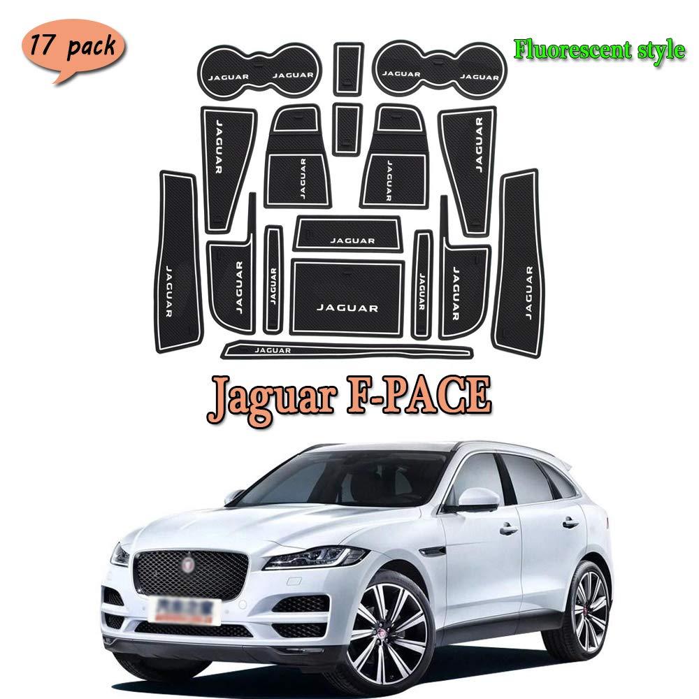 Tapis int/érieur de Voiture.Bloc de Fente de Porte Latex de Voiture Tapis de Protection int/érieur Anti-poussi/ère pour Anti-Glisse int/érieur de Voiture pour Jaguar F-Pace 17 PCS//Set,Rouge