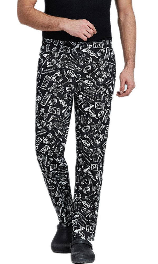 XinAndy High End Unisex Grandmaster Chef Pants Black & White Cutlery Prints Style by XinAndy Chef