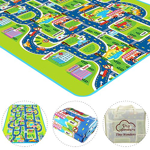 Tiny Wonders Kids Activity Creeping Play Mat, Baby Learning Decor Rug with Road Traffic, Infants Educational Car Carpet with City Town Map, Large and Thick for Floor Bedroom Playroom Safe Area Game by Tiny Wonders (Image #3)