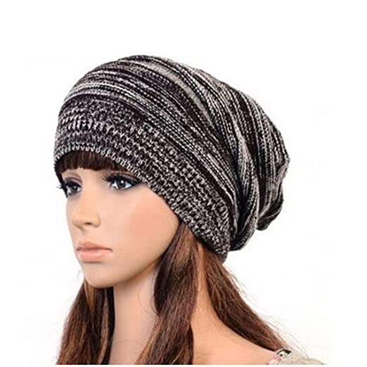 6c5a2ef6e8c Hot Fashion Slouch Baggy Beanie Cap Slouchy Skull Hat Mens Womens Knit Hat  (Coffee) at Amazon Women s Clothing store