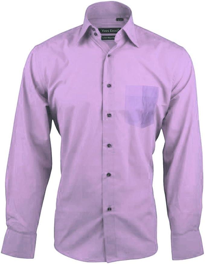 Camisa de algodón para hombres monocolor JUSTIN con cuello clásico ...