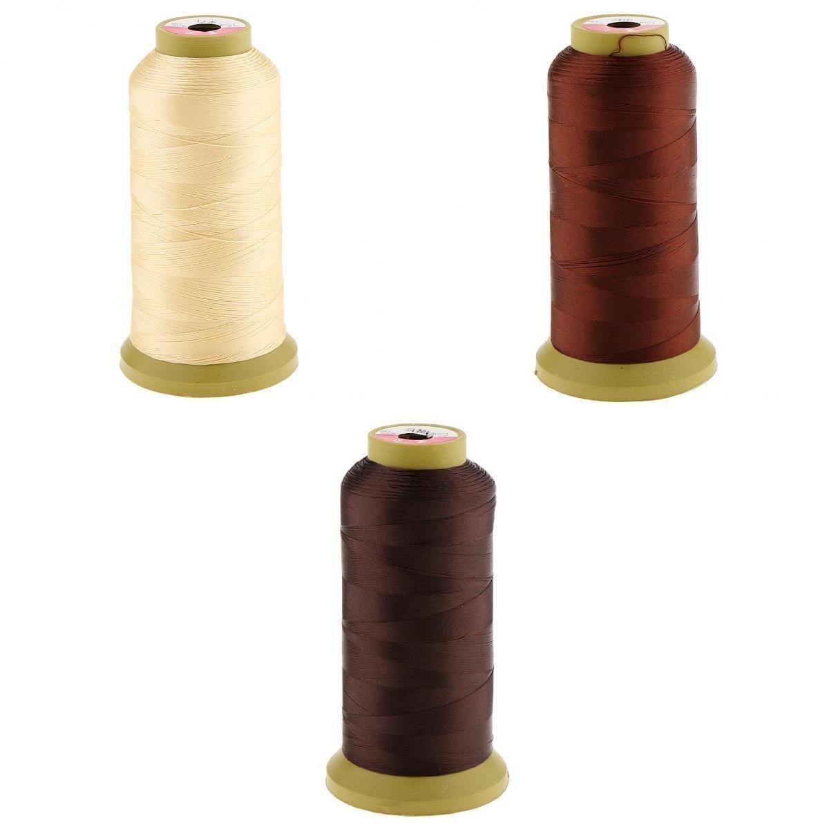 MagiDeal 3 Pezzi Di Capelli Per Cucire / Treccia / Tessitura Frangia Estensione Parrucca Decorazione Filo 0, 2mm