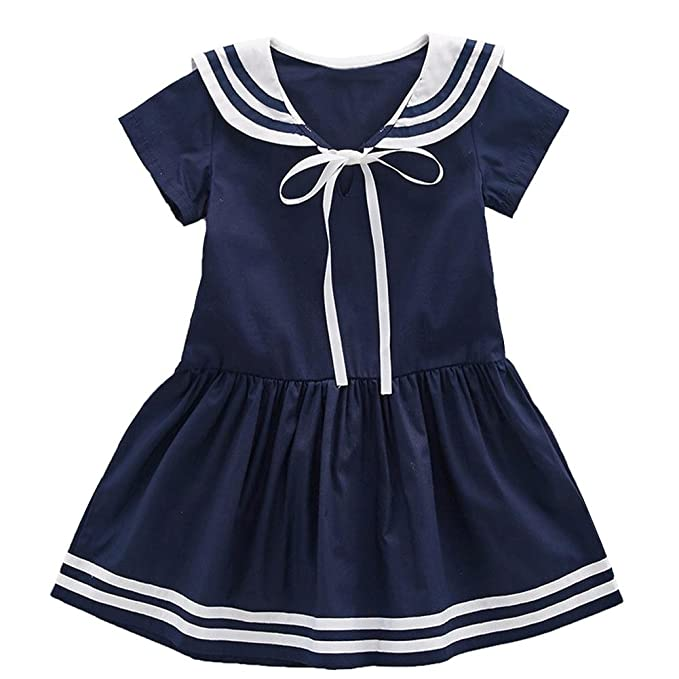 Vintage Style Children's Clothing: Girls, Boys, Baby, Toddler Frogwill Girls Sailor Dress Short Sleeve Navy 3-10Y $15.99 AT vintagedancer.com