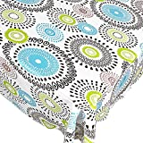 Whimsy Circle Contemporary Print Indoor/Outdoor Vinyl Flannel Backed Tablecloth – 52 x 52 Square