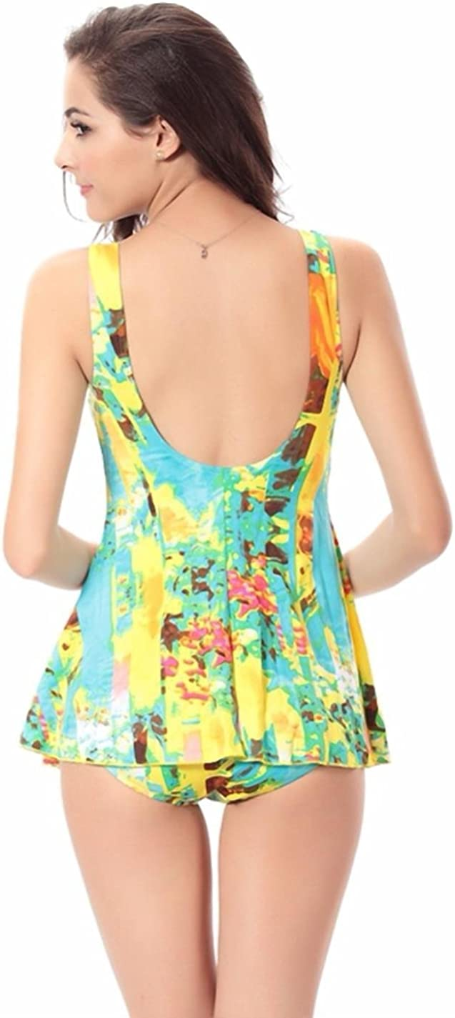 xgotJjwF Womens Swimwear Halter Print Conservative Slim One-Piece Swimsuit