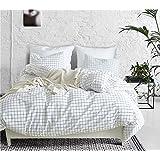 WINLIFE Simple Grid Bedding Set for Boys & Girls Grid Duvet Cover Queen