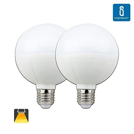 Aigostar - Pack de 2 Bombillas LED G95 tipo globo de 20 watios, casquillo gordo (E27), 1600 lumen y luz calida (3000K)[Clase de eficiencia energética ...