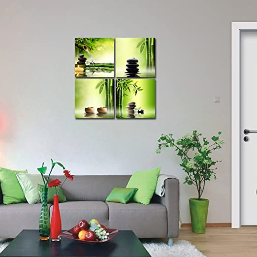 Pyradecor Modern Stretched and Framed Green | Home Wall Art Decor