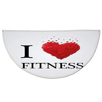 Half Round Door Mat Entrance Rug Floor Mats,Fitness,I Love Fitness Modern Font
