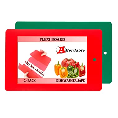 Flexi Board Flexible Plastic Cutting Board Mats With Storage Loop 2 Pack