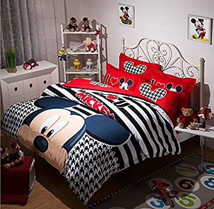 AM Kingdom I Love Mickey 4 Piece Bedding Set, Creative Black and White Grometric, Stripe Bedding Sets for Teens and Children, Full/ Queen Size: Duvet Cover 80x91 Inch(200x230cm)