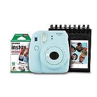 Kit Câmera Instantânea com Porta Fotos e Filme 10 Poses, Fujifilm, Instax Mini 9 7892520239885, Azul Acqua