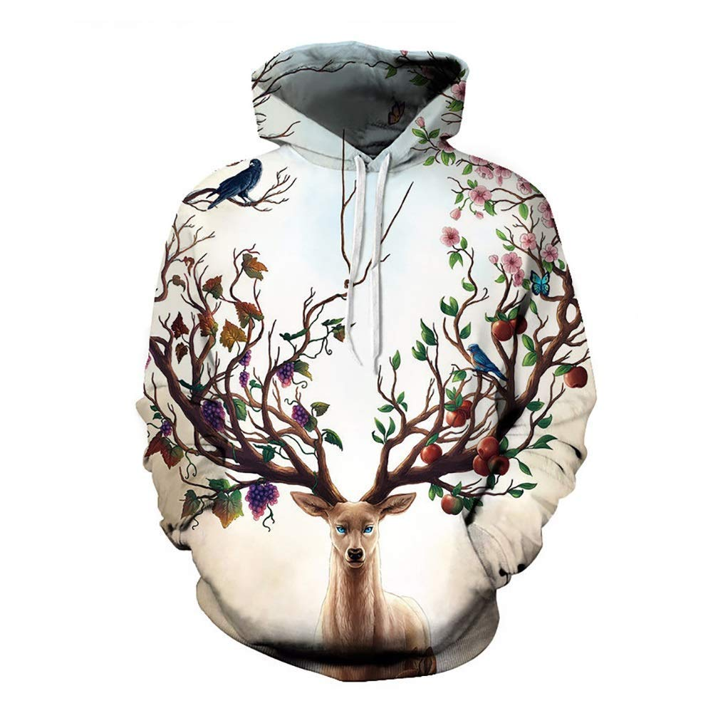 FuweiEncore Unisex Hoodies, Casual Lustige Hipster 3D Print Frauen Männer Mit Kapuze Hoodies Sweatshirts Pullover Harajuku Hip Hop (Farbe   Weiß, Größe   3XL) (Farbe   Weiß, Größe   2XL)