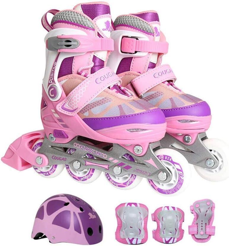 YANG 子供のためのインラインスケート、初心者のための、調節可能なローラースケートボタン、男の子用、ピンク+保護服+ヘルメット (Size : S(EU 26 - EU 30))  S(EU 26 - EU 30)
