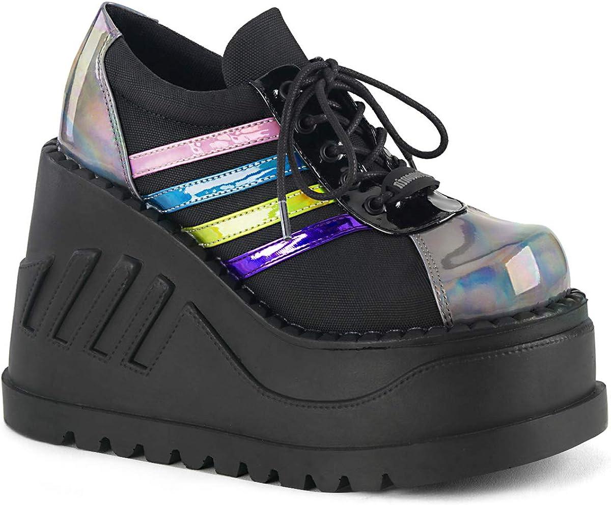 Demonia Women's STOMP-08 Wedge Platform Shoe Black/Pewter