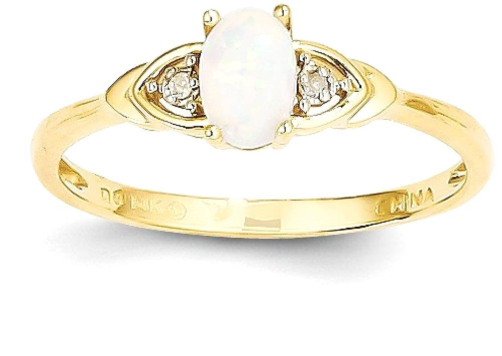 ICE CARATS 14k Yellow Gold Diamond Opal Band Ring Size 7.00 Stone Birthstone October Set Style Fine Jewelry Gift Set For Women Heart by ICE CARATS