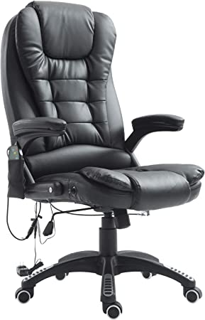 HOMCOM High Back Faux Leather Adjustable Heated Executive Massage Office Chair - Mild Massage Function