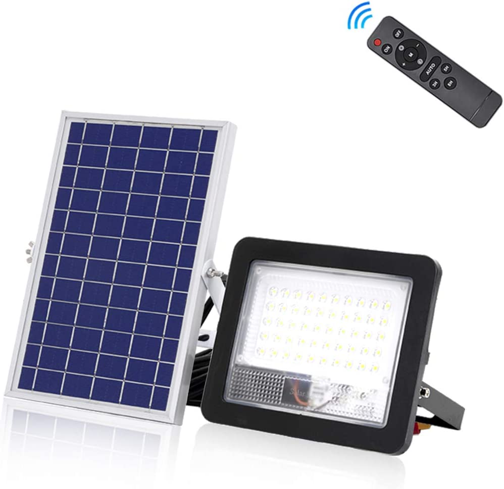 50W LED Solar Flood Light Outdoor LED Solar Street Security Light IP66 Waterproof Auto Dusk to Dawn with Remote 300LM 6500K Cool White Wall Light for Road Yard Garden Pathway Pool Lawn Flag Pole