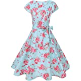 007XIXI Swing Dress 1950S,Women Vintage Printing Bodycon Sleeveless Casual Evening Party Prom Swing Dress