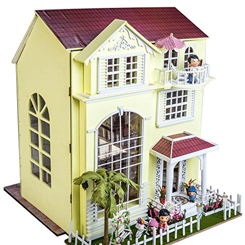 TOPFUND Wooden Dollhouse Miniatures DIY House Kit Led Light and Music-Happiness Home by TOPFUND