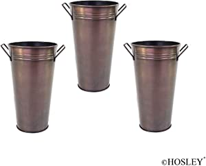 Hosley Set of 3 Antique Bronze Galvanized Floral Vases French Buckets with Handles 9 Inches High Ideal for Dried Floral Arrangements for Wedding Gift Spa Vigil Aromatherapy Memorial O4