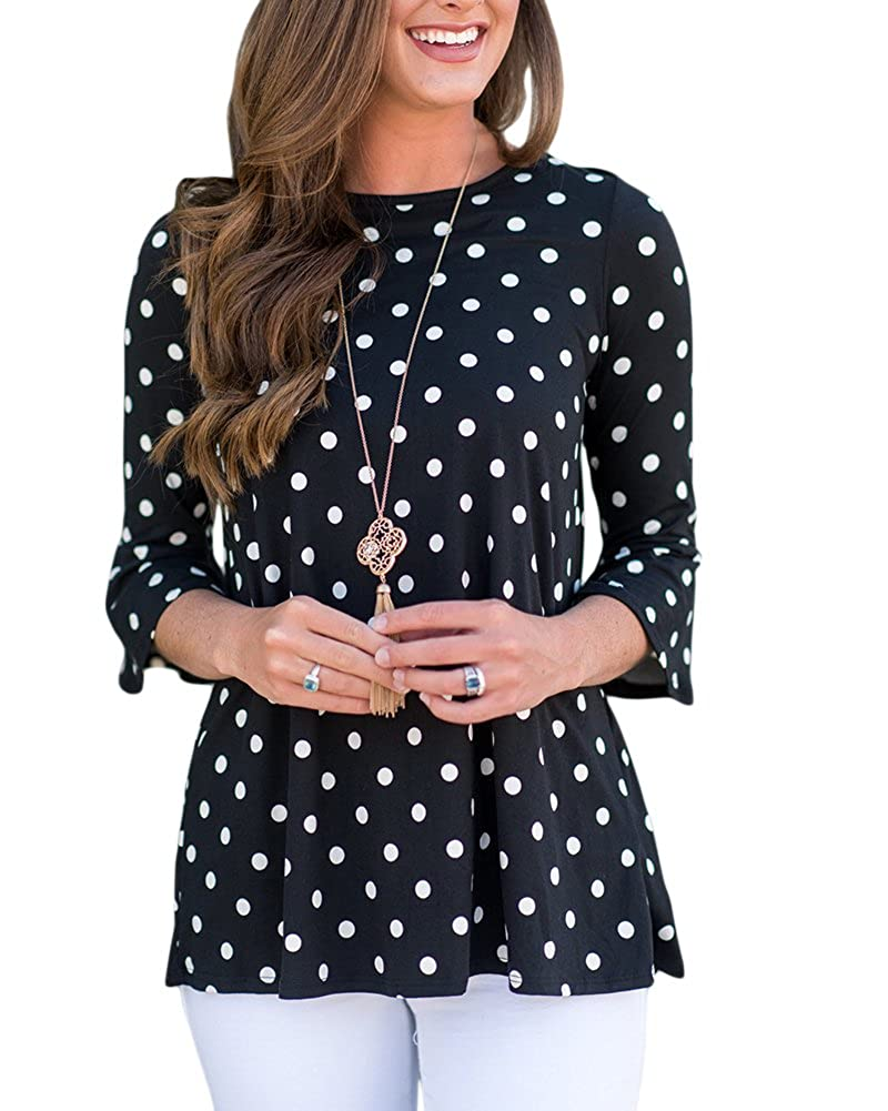119eee11c91fc Chinabrands.com: Dropshipping & Wholesale cheap LEANI Womens Polka Dot 3/4  Bell Sleeve Round Neck Casual Blo online.