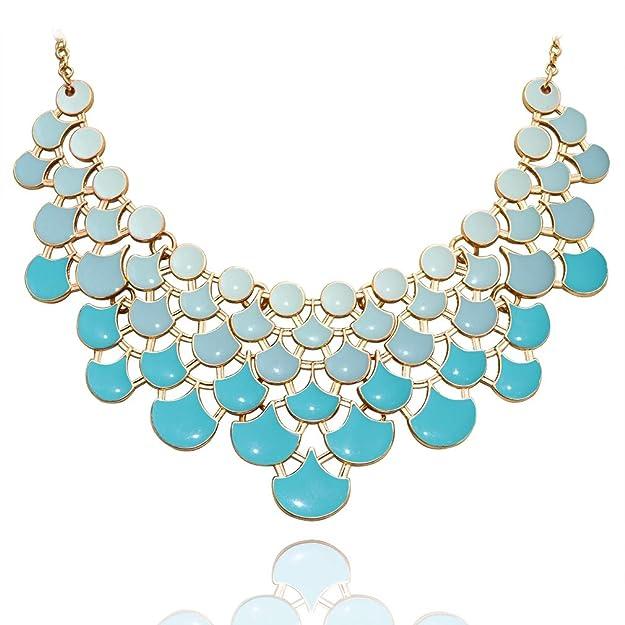 JANE STONE Fan Statement 2019 Fashion Resin Frontal Bib Robin's Egg Blue Peacock Necklace Popular Jewelry