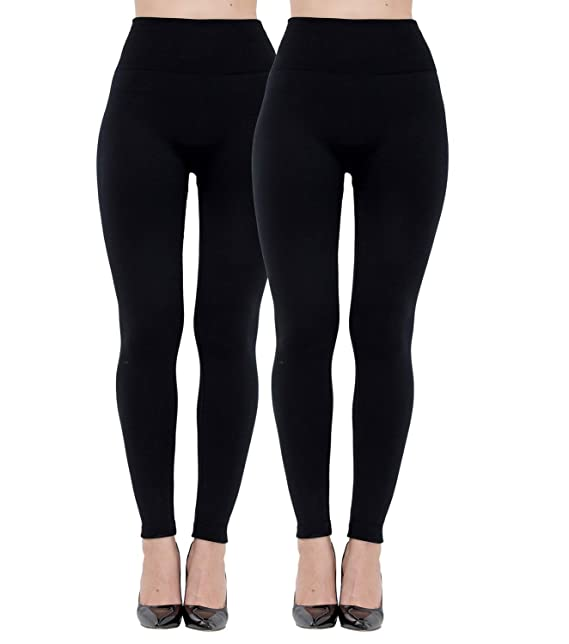 cbac6dc0d1021 Diravo Fleece Lined Leggings for Women. High Waist-Stretch Leggings Pants  Thick Black (