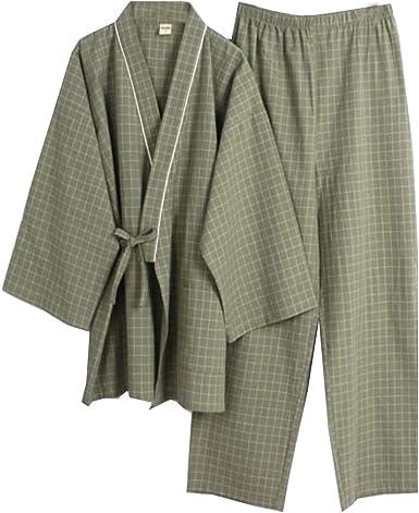 Trajes de Estilo japonés de los Hombres Puros de algodón Kimono Traje de Pijama Suit Dressing Set- # 06
