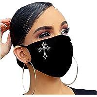 JMETRIE Adult Mask Dustproof Color Flash Diamond Rhinestone Butterfly Print Face Mask