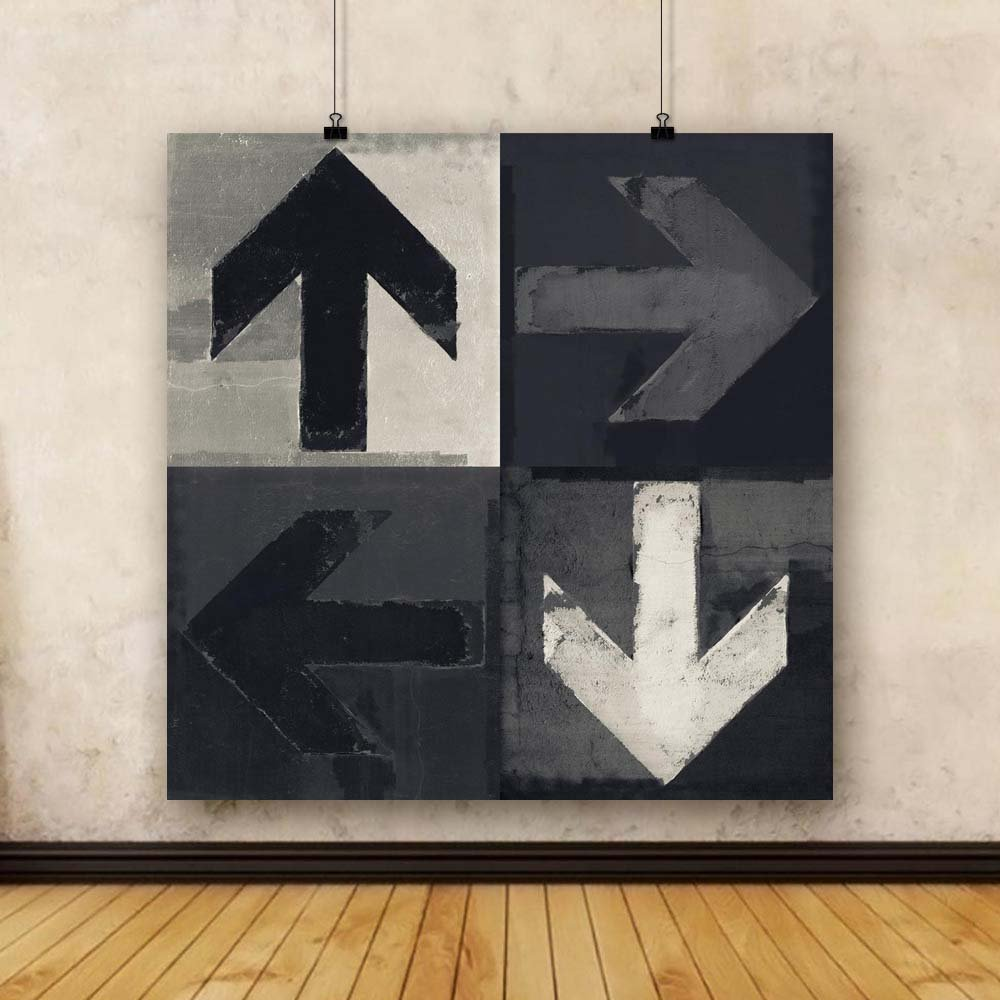 Pitaara Box Canvas Monochrome Arrows Unframed Canvas Box Painting 36 x 36inch d489d4