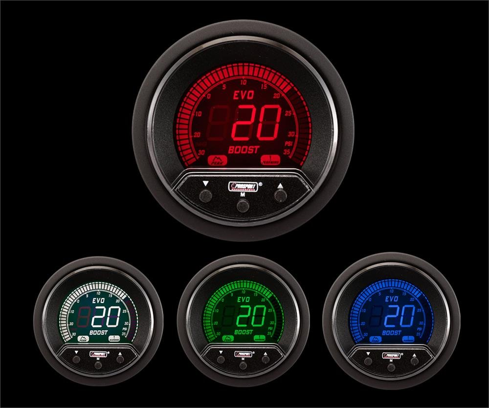 Prosport Universal 52mm Premium Evo Electrical Boost Gauge Red//White//Blue//Green