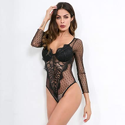 230d2772a Sexy Women s Vintage Embroidered Lace Long Sleeve Bottoming Bodysuit (Color    BLACK)  Amazon.co.uk  Kitchen   Home