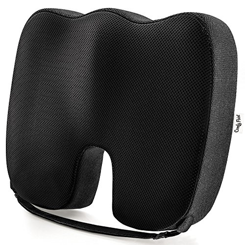 Coccyx Seat Cushion Gives Tailbone Pain Relief - Car Seat Cushion with Strap - Seat Pillow - Office Chair Cushion - Coccyx Pillow - Tailbone Cushion - Soft Premium Memory Foam Provides Luxury Comfort.