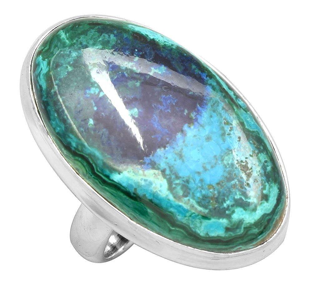 YoTreasure Azurite Malachite Solid 925 Sterling Silver Ring