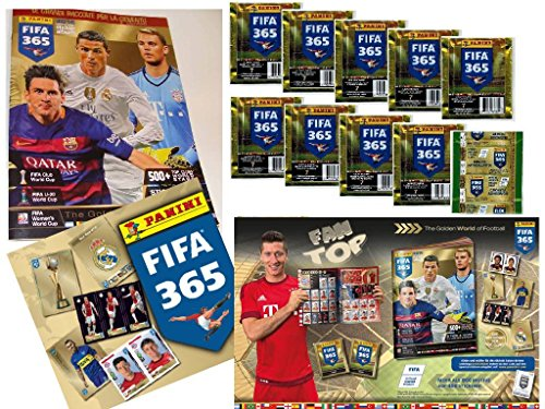 Bundle: Panini FIFA 365: 2016 Official Sticker - Collectors Sticker Starter Kit (Soccer Card Stickers) Album + 10 Packs by Panini