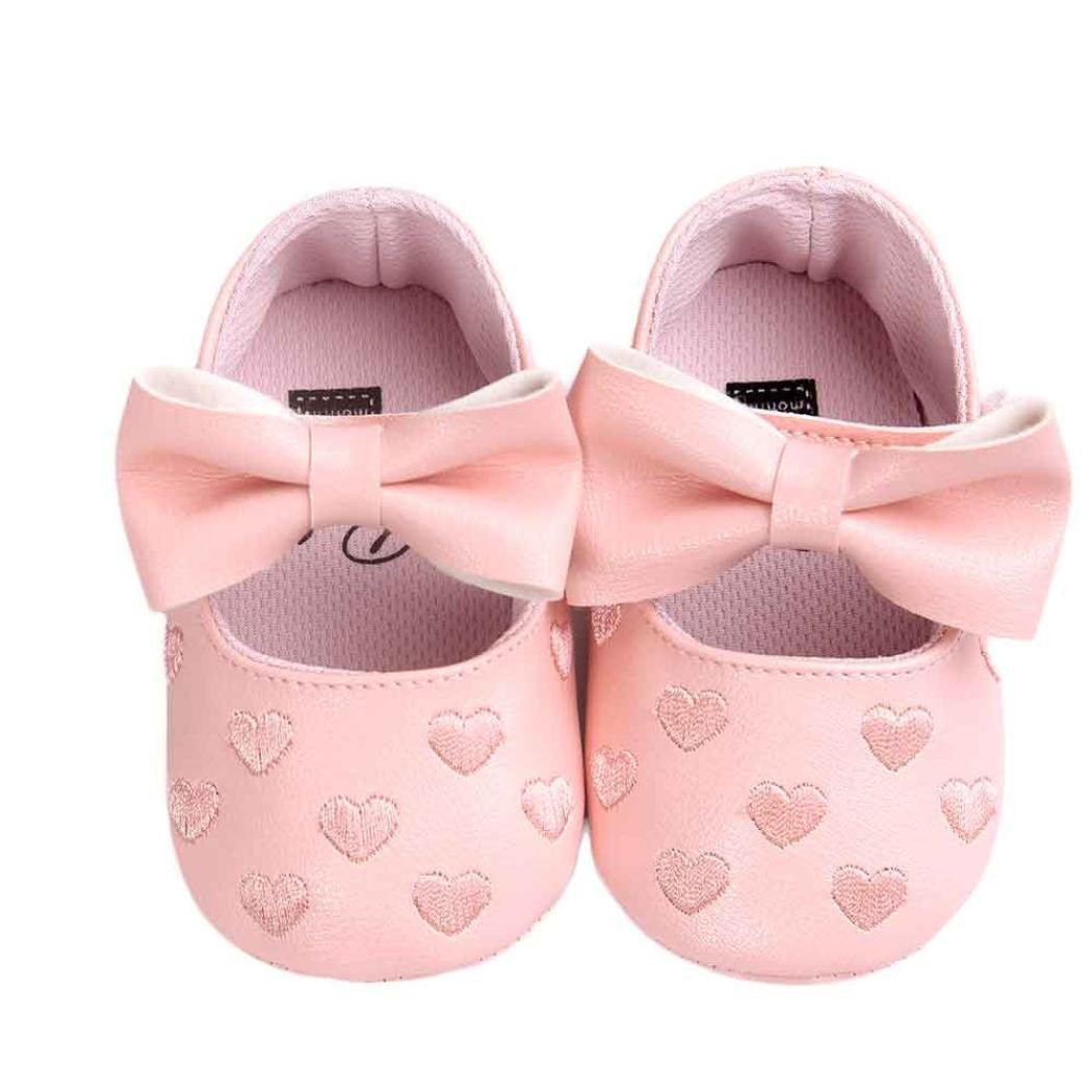 0~6M, Black Kolylong Baby Girl Prewalker Sweet love heart Bowknot Anti-slip Soft Sole Leater Shoes