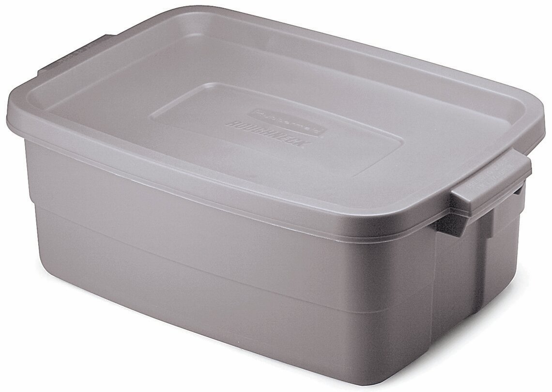 Rubbermaid FG2214TPSTEEL Roughneck Storage Tote Box, 10-Gallon, Steel, 8 Pack