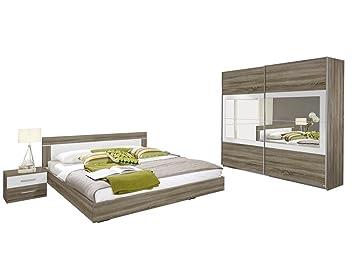 Rauch Schlafzimmer Komplett Set mit Bett 180x200, Schrank mit Spiegel und  Nachttischen, Eiche Havanna, Absetzungen Weiß Alpin