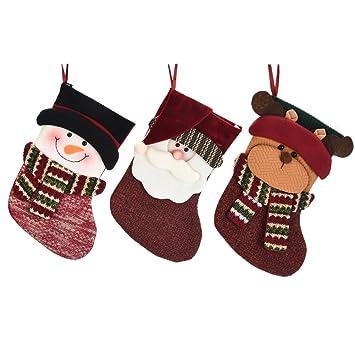 Amazon.com: Calcetín de Navidad 3d muñeco peluche Applique ...