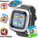 iGeeKid Kids Game Smart Watch [AR Enhanced Edition] with Camera Pedometer Timer Wristwatch Alarm Fitness Tracker Sport Watch Gifts for Boys Girls Indoor Outdoor Children Learning Toys (01black s)