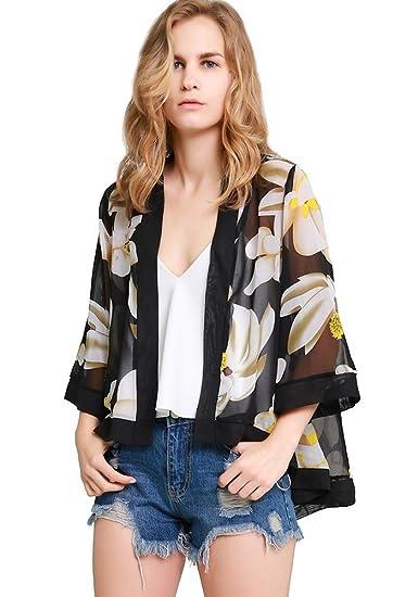 8f6e8e233c7 MissShorthair Womens Loose Chiffon Kimono Blouse Floral Print Cardigan  Short Tops