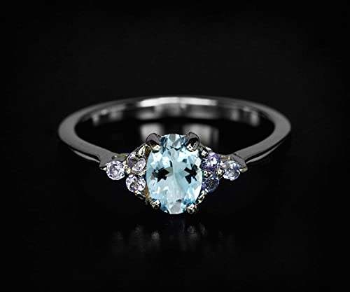 Solitaire Ring Natural aquamarine Sterling Silver sky blue ring,valentine gift DAINTY AQUAMARINE RINGS March birthstone