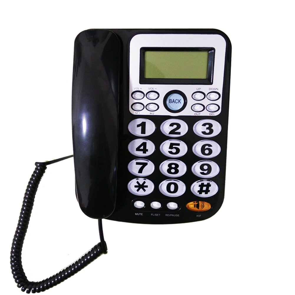 HePesTer P-34Black Big Button Phone for Seniors Amplified Corded Phone with Caller ID for Hearing Impaired Works in Power Outage for Emergency Telephone(Black)